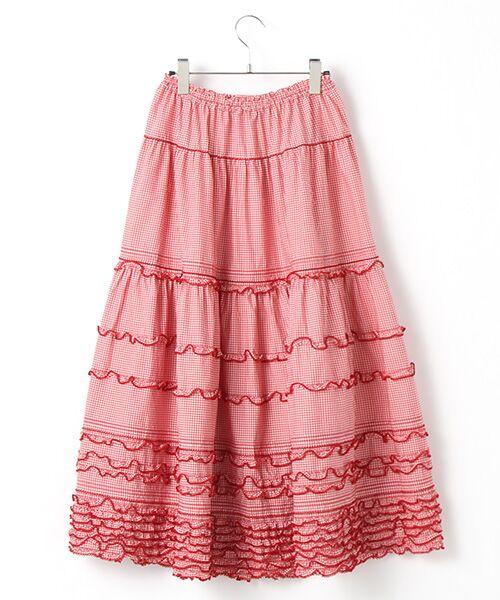 PINK HOUSE / ピンクハウス ロング・マキシ丈スカート | リボン使いギンガムチェックスカート | 詳細2