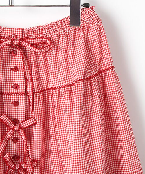 PINK HOUSE / ピンクハウス ロング・マキシ丈スカート | リボン使いギンガムチェックスカート | 詳細3