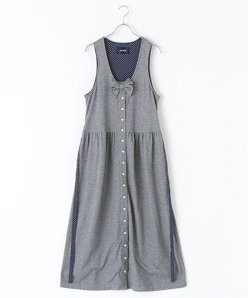 PINK HOUSE / ピンクハウス ロング・マキシ丈ワンピース   ドット使いカットソージャンパースカート(ネイビー)