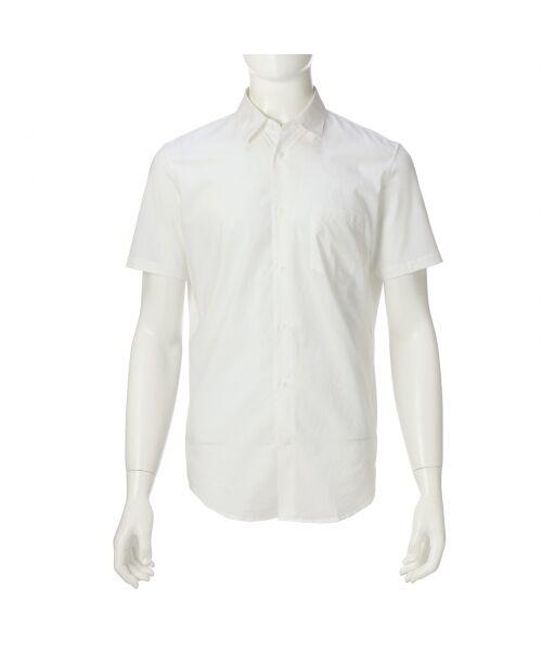 送料無料!【クールビズ】ファブリックMIXショートスリーブシャツ