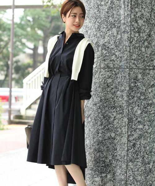ROPE' / ロペ ミニ丈・ひざ丈ワンピース | ストレッチタイプライターシャツワンピース(コン)