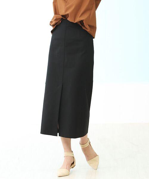Rouge vif la cle / ルージュ・ヴィフ ラクレ ミニ・ひざ丈スカート | セミタイトスリットスカート(ブラック)