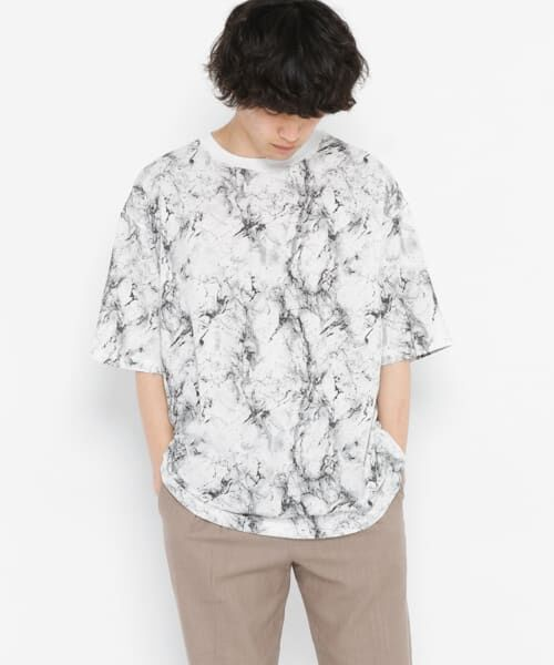 SENSE OF PLACE by URBAN RESEARCH / センスオブプレイス バイ アーバンリサーチ Tシャツ | マーブルビッグTシャツ(5分袖)(MARBLE)