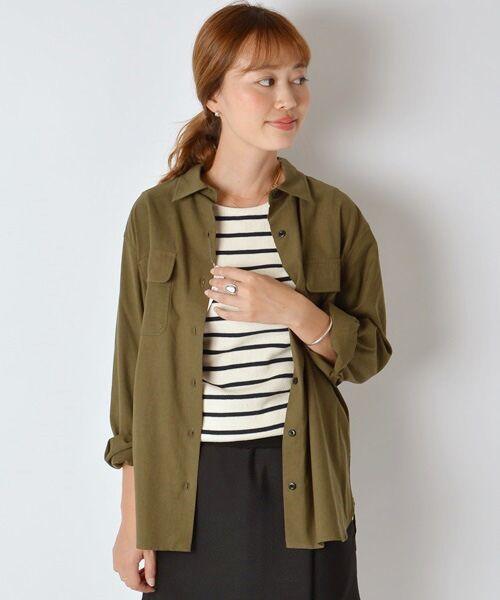 SHIPS for women / シップスウィメン シャツ・ブラウス | ミリタリーダブルポケットシャツ(オリーブ)