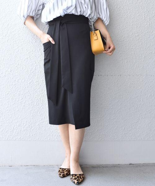 SHIPS for women / シップスウィメン ミニ・ひざ丈スカート   ポケットタイトスカート◆(ブラック)