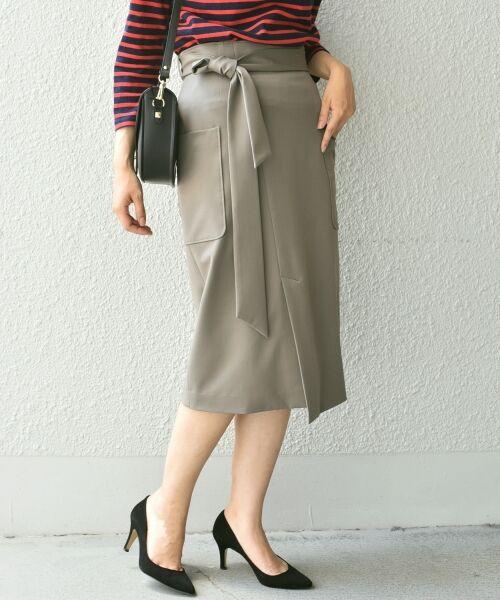 SHIPS for women / シップスウィメン ミニ・ひざ丈スカート   ポケットタイトスカート◆(オリーブ)