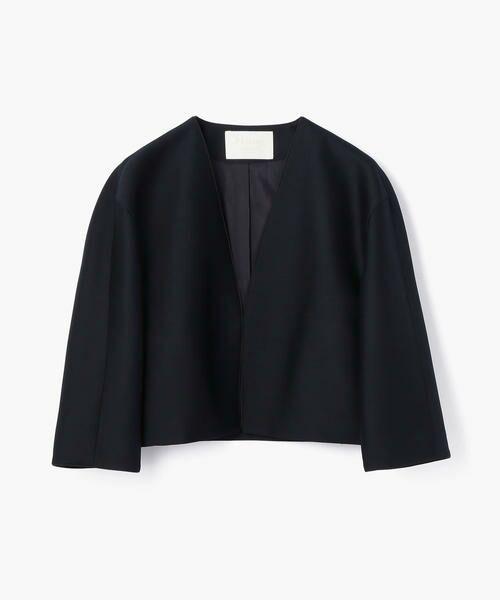ウールシルクツイル ノーカラージャケット
