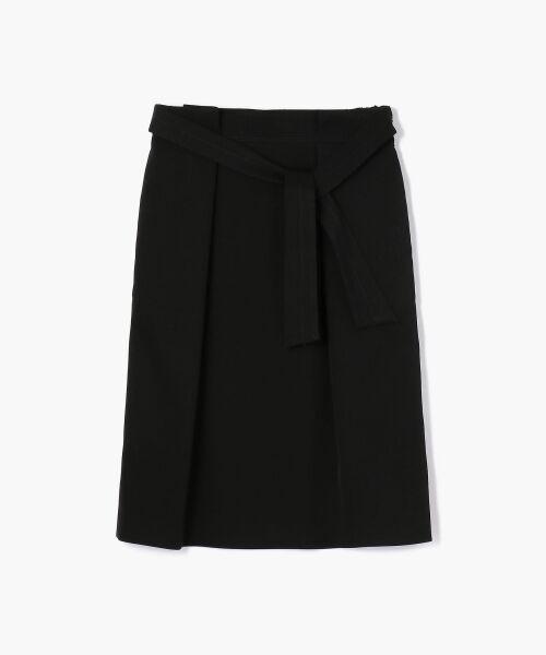 TOMORROWLAND / トゥモローランド ミニ・ひざ丈スカート | トリアセテートポリエステル タックギャザースカート(19 ブラック)
