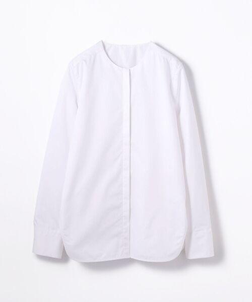 TOMORROWLAND / トゥモローランド シャツ・ブラウス | コットンポリエステル ノーカラーシャツ(11 ホワイト)