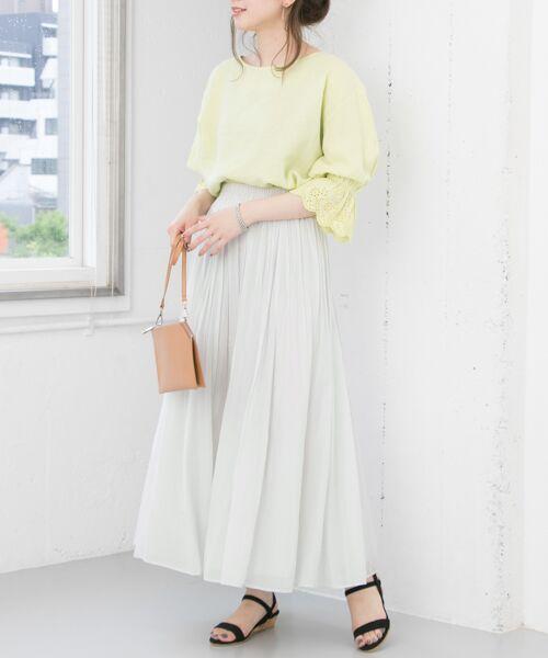 URBAN RESEARCH / アーバンリサーチ スカート | 【予約】コットンシルクギャザースカート(GREGE)