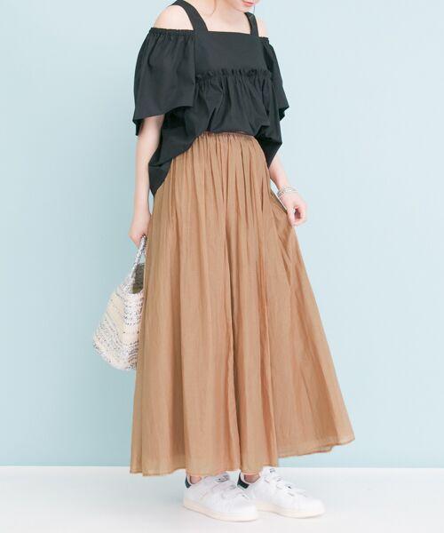URBAN RESEARCH / アーバンリサーチ スカート | 【予約】コットンシルクギャザースカート(CAMEL)