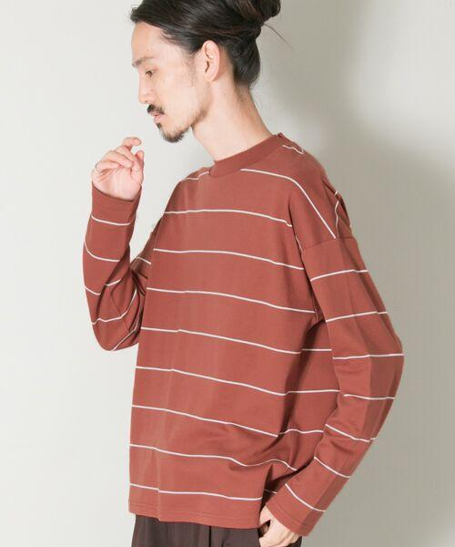 URBAN RESEARCH / アーバンリサーチ Tシャツ | ボーダーバルーンロングスリーブTシャツ(L.BROWN)