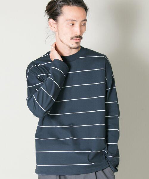 URBAN RESEARCH / アーバンリサーチ Tシャツ | ボーダーバルーンロングスリーブTシャツ(FADE NAVY)