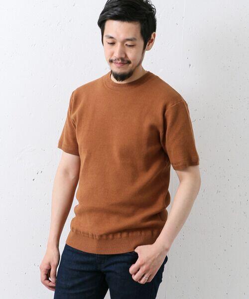 綿ナイロン クルーネックニットT-SHIRTS【送料無料】