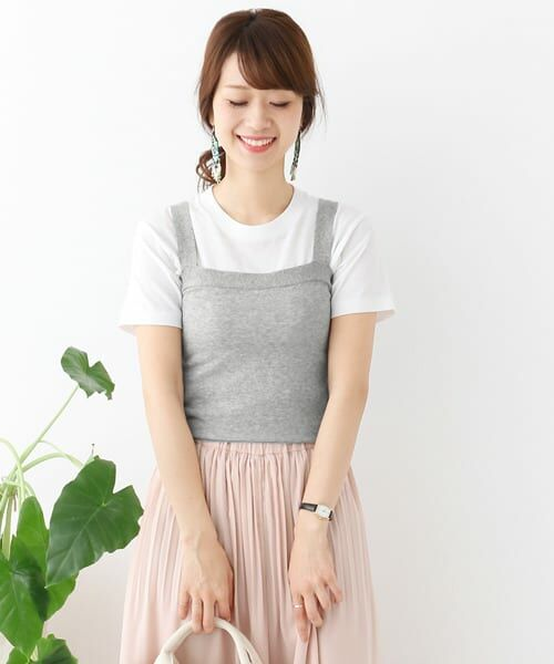 ハイツイストコットンニットキャミソール【送料無料】